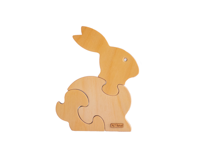 3 piece chunky wooden puzzle bunny thumb